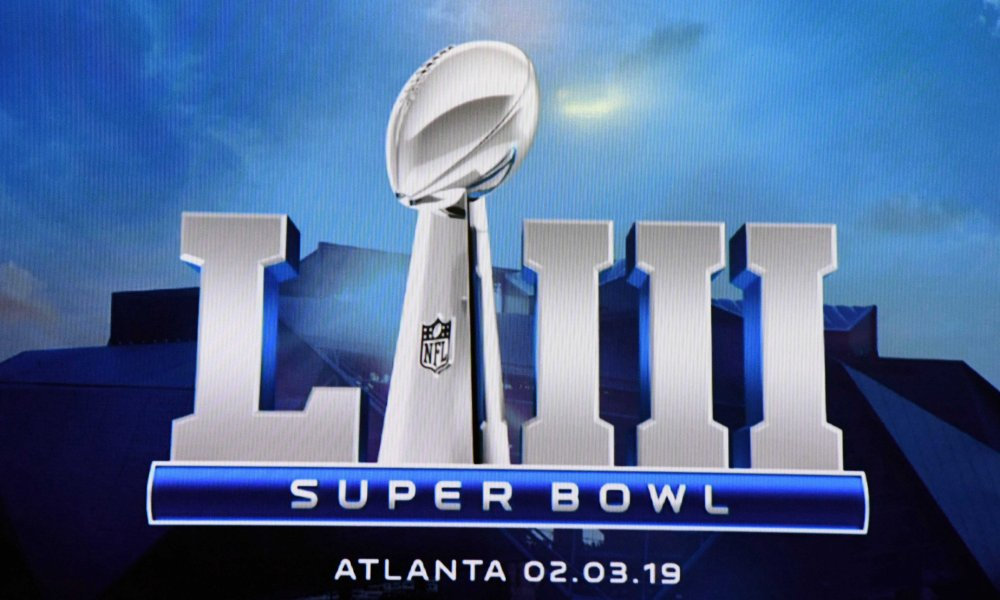 Feb 5, 2018; Bloomington, MN, USA;  Super Bowl LIII logo at a press conference at Mall of America. The 53rd Super Bowl will be played at Mercedes-Benz Stadium on Feb. 3, 2019 in Atlanta. Mandatory Credit: Kirby Lee-USA TODAY Sports