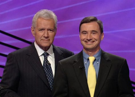Mr. Tim Klein with Alex Trebek during his 2010 appearance on Jeopardy!